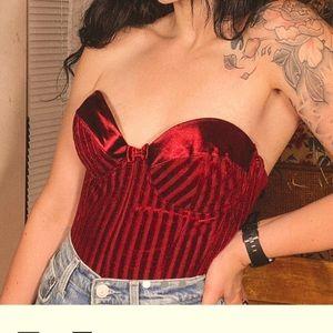 Stunning authentic vintage red velvet corset top